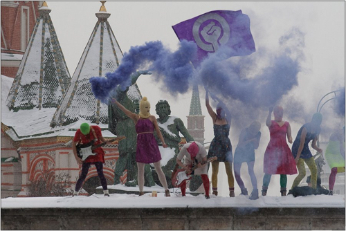 Pussy Riot on Red Square (photo credit: Denis Bochkarev/CC)