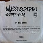 "Picture sleeve of Nina's ""Mississippi Goddam"" promo single that was returned from Southern radio stations cracked in half."