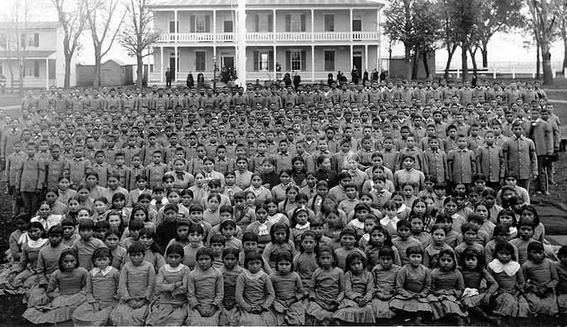 Children at the Carlisle Industrial School, a Native American Boarding School. Credit: Phaedriel/CC